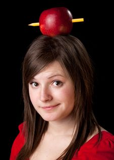 Free Woman Have One Apple With Pencil On Her Head Stock Photo - 20255300