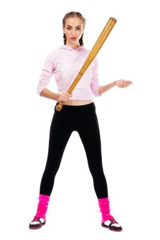Free Pretty Lady With A Baseball Bat Stock Photography - 20258352
