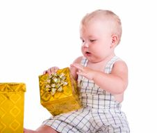 Free Little Baby With A Gift Stock Image - 20259451