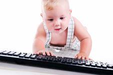 Free Little Child Holding Keyboard Stock Photos - 20259463
