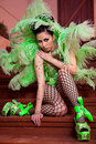 Free Female Wearing Green Feather Fashion Royalty Free Stock Images - 20263629