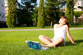 Free Young Girl Sitting In The Park With Your Laptop Stock Image - 20267411