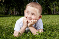 Free Cute Boy Laying In The Grass Royalty Free Stock Photo - 20267505
