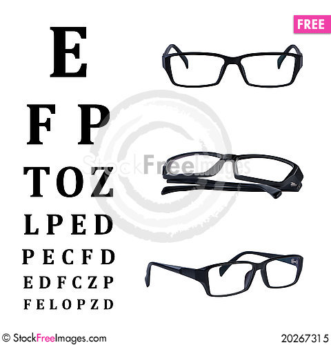 Free Eye Glasses Isolated With Eye Chart Royalty Free Stock Photo - 20267315