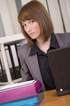 Woman By Office Work Royalty Free Stock Photography