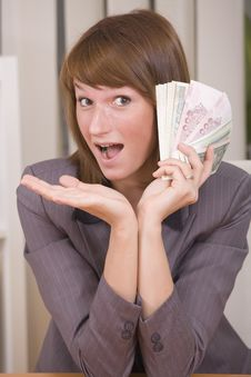 Free Woman With Stack Of Money Royalty Free Stock Image - 20260576