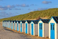 A Row Of Cabins On The Beach Royalty Free Stock Photos