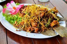 Deep Fried Fish With Lemongrass Royalty Free Stock Photo
