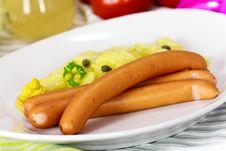 Free Frankfurter Sausage With Mustard,potato Royalty Free Stock Photos - 20261338