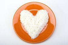Free Heart Shaped White Rice On A Ceramic Plate Royalty Free Stock Image - 20261576