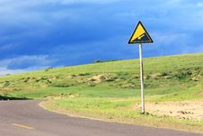 Landscape  Of  Road With Signpost In The Grassland Royalty Free Stock Photography