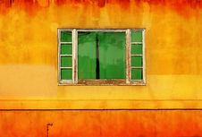 Free Green Window On Yellow Wall Royalty Free Stock Photo - 20263925