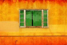 Free Green Window On Yellow Wall Royalty Free Stock Photo - 20263925