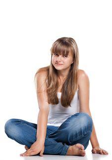 Free Smiling Teenager Girl Sitting Royalty Free Stock Image - 20264596