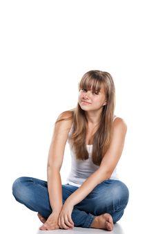 Free Smiling Teenager Girl Sitting Stock Photos - 20264603