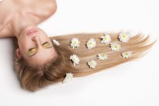 Free Attractive Young Woman Lying Covered With Flowers Stock Photography - 20265502