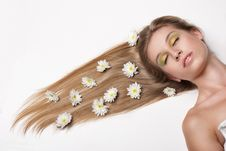 Free Attractive Young Woman Lying Covered With Flowers Stock Photos - 20265513