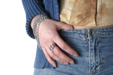 Free Girl Wearing Jeans And Bangle Stock Images - 20265994