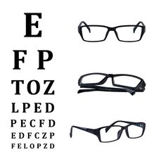 Eye Glasses Isolated With Eye Chart Royalty Free Stock Photo