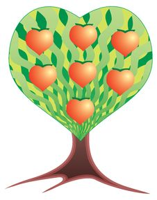 Fruits Tree In The Form Of Heart. Royalty Free Stock Images