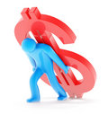 Free Man With Dollar Sign On White Stock Image - 20271501