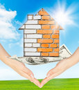 Free Hands Holding Model Of A Brick House Stock Photography - 20276022