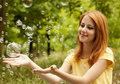 Free Girl In The Park Under Soap Bubble Rain. Stock Image - 20276191
