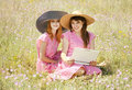 Free Girls At Contryside With Notebook. Stock Photography - 20276702
