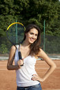 Free Smiling Woman On Tennis Court Royalty Free Stock Photo - 20279985