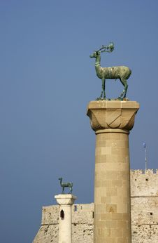 Monument In Port,City Of Rhodes Stock Images