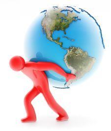 Free Man Holding Earth On White Stock Photos - 20272103