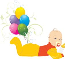 Free Baby And Colorful Balloons Royalty Free Stock Photos - 20274488