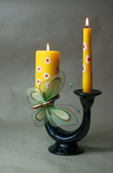 Free Butterfly On Candlestick Stock Photography - 20274682