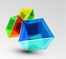 Free Vector Shiny Transparent Glass Cube Background Stock Image - 20275111