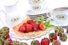 Strawberry Tart And Tea Stock Photo