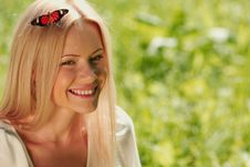 Free Woman Playing With A Butterfly Royalty Free Stock Images - 20275689