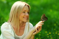 Free Woman Playing With A Butterfly Stock Photography - 20275712