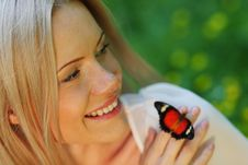 Free Woman Playing With A Butterfly Royalty Free Stock Photo - 20275735