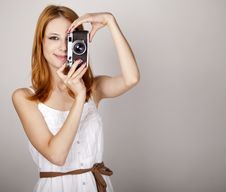 Free Girl In White Dress With Vintage Camera. Royalty Free Stock Photo - 20276075