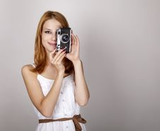 Free Girl In White Dress With Vintage Camera. Royalty Free Stock Photography - 20276077