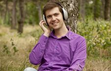 Free Men With Headphones At The Park Stock Photo - 20276140
