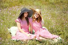 Free Two Girls At Contryside. Royalty Free Stock Photos - 20276178