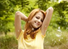 Free Girl In The Park Under Soap Bubble Rain. Royalty Free Stock Image - 20276186