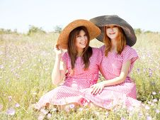 Free Two Girls At Contryside. Stock Photo - 20276240