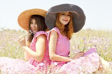 Free Two Girls At Contryside. Royalty Free Stock Images - 20276299