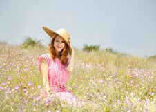 Free Retro Style Girl At Countryside Stock Photography - 20276572