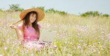 Free Girl At Countryside With Notebook. Stock Image - 20276661