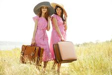 Free Girls With Suitcases At Countryside. Stock Photos - 20276683