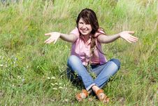 Free Girl At Green Grass. Royalty Free Stock Photo - 20277235