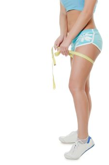 Girl In Shorts With A Tape Royalty Free Stock Photo